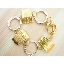 Bracelet cercles et losanges dorés