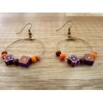 Boucles d'oreilles créoles perles polymère couleur