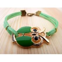 Bracelet chouette et suédine de couleur