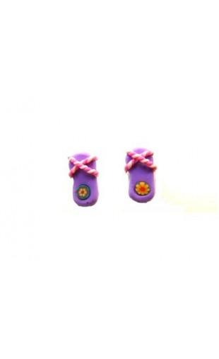 Boucles d'oreilles forme tong mauve et rose