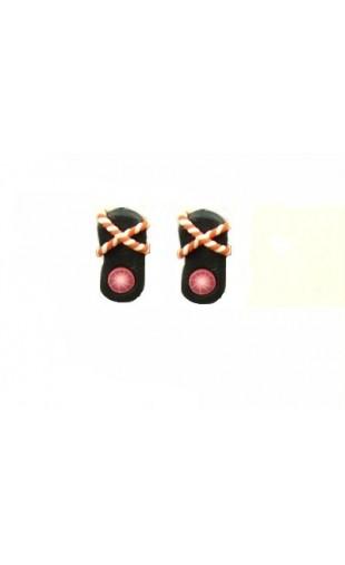 Boucles d'oreilles forme tong noir et orange