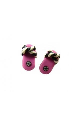Boucles d'oreilles forme tong fuchsia et noir