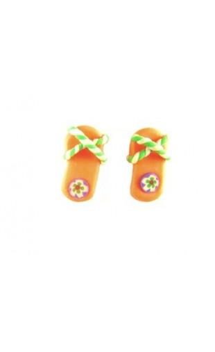 Boucles d'oreilles forme tong orange et vert