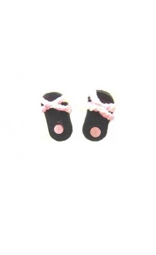 Boucles d'oreilles forme tong noir et rose