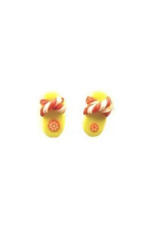 Boucles d'oreilles forme tong jaune et rouge