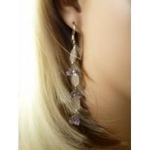 Boucles d'oreilles améthyste cristal argent véritable