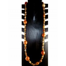 Sautoir perles de bois, en graine et nacre