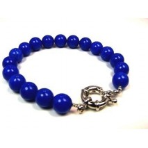 Bracelet bleu perles rondes lapis lazuli
