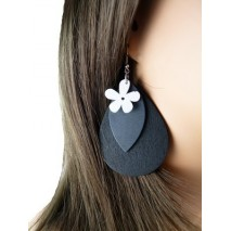 Boucles d'oreilles bois fleur