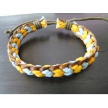 Bracelet cuir et coton jaune et bleu