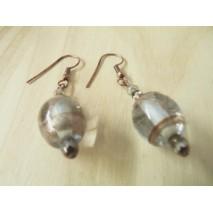 Boucles d'oreilles perle de verre et bronze