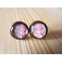 Boucles d'oreilles cabochon feuilles roses