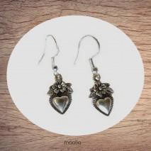 Boucles d'oreilles coeur fleuri argent