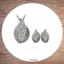 Maolia - Collier pendentif cristal doré ou argenté