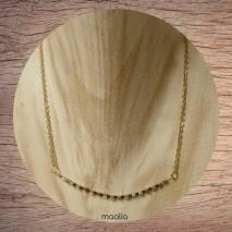 Maolia - Collier cubes dorés et perles bleues