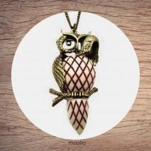 Maolia - Sautoir bronze chouette porcelaine