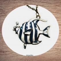 Maolia - Sautoir poisson bleu rayé