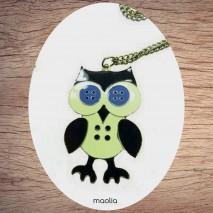 Maolia - Sautoir chouette émaillée yeux boutons