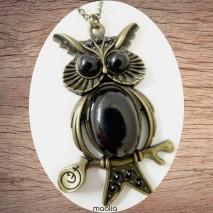Maolia - Sautoir chouette bronze corp noir