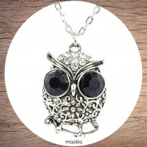Collier chouette ronde argent