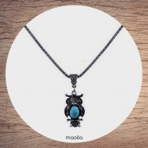 Maolia - Collier chouette turquoise argent
