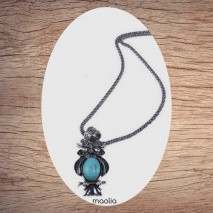 Collier chouette turquoise argent