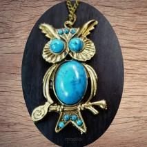 Maolia - Sautoir chouette bleue et bronze
