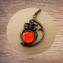 Maolia - Sautoir chouette corps rouge