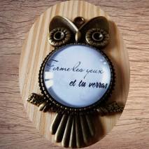 """Maolia - Collier chouette texte """"les yeux"""""""