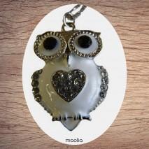 Maolia - Collier chouette émaillée coeur cristal