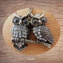 Maolia - Sautoir chouette duo bronze