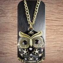 Maolia - Sautoir chouette noire bronze et cristal