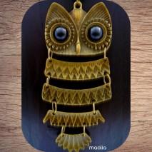Maolia - Sautoir chouette bronze articulée en cinq parties