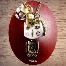 Maolia - Collier chouette stylisée tête blanche