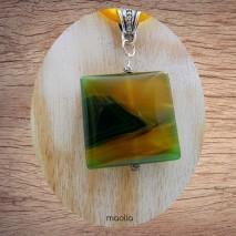 Maolia - Collier agate jaune et verte