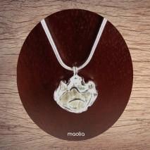 Maolia - Collier fleur chaîne plaqué argent