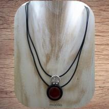 Maolia - Collier deux fils caoutchouc et perle couleur