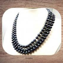 Collier trois fils en perles de culture Akoya noires