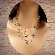 Maolia - Collier perles de culture colorées cinq fils