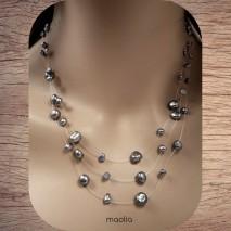 Maolia - Collier perles de culture grises trois fils