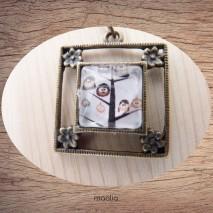 Maolia - Collier cabochon bronze carré modèle N° 7