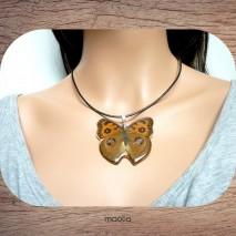 Maolia - Véritable papillon brun et noir cordon cuir