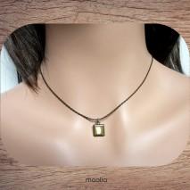 Maolia - Collier petit carré chaine bronze