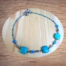 Maolia - Collier turquoise carrée bleues