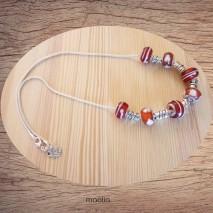 Maolia - Collier perles rouges et blanches argent