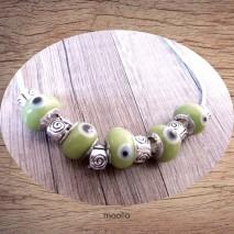 Maolia - Collier perles vertes oeil bleu et argent