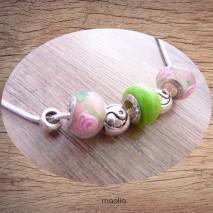 Collier perles vertes roses et argent