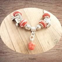 Collier perles rouges et argent