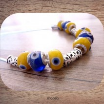 Collier perles argent et de verre jaunes et bleues