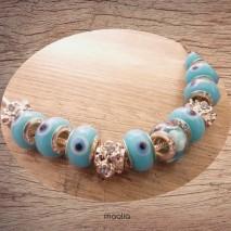 Collier perles argent et de verre bleues